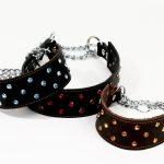 Läderhalsband med röd strass
